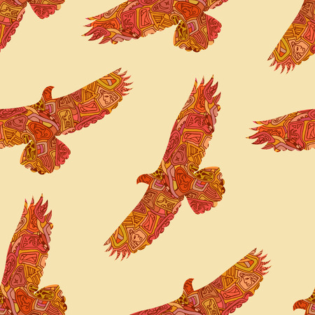 Seamless decorative tribal pattern with eagles. Vector illustration Illustration