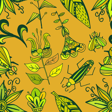 Seamless texture with bright ornaments vegetation and insects on an orange background. Tribal style. Ethno. Vector illustration.