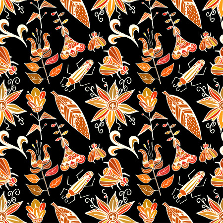 Seamless texture with bright ornaments vegetation and insects on a black background. Tribal style. Ethno. Vector illustration. Vector