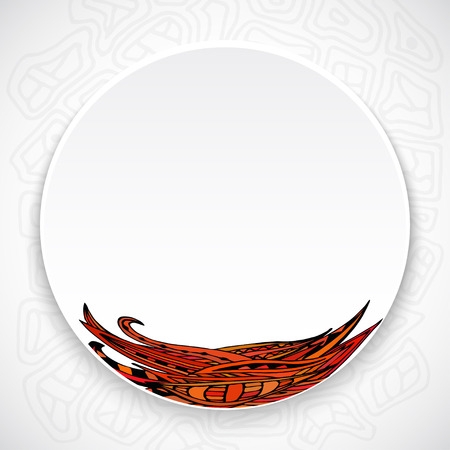 ethno: White plate with red floral ornament tribal style on a bright abstract background. Tribal Style. Ethno. Vector illustration.