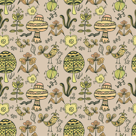 Seamless texture of colorful birds, flowers, insects and trees in a simple style on a light background. Vector illustration. Vector
