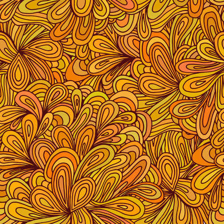 green texture: Orange and light green texture with flowers. Vector illustration.