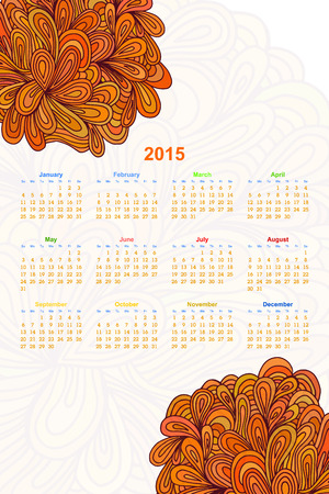 ethno: Vertical calendar on a white background with an floral ornament Doodle. 2015. Ethno. Vector illustration. Illustration