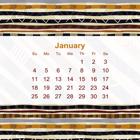 ethno: Calendar designed in the style of Tribal. 2015. January. Ethno. Vector illustration.