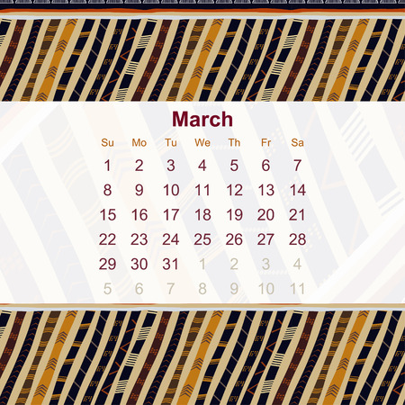 ethno: Calendar designed in the style of Tribal. 2015. March. Ethno. Vector illustration.