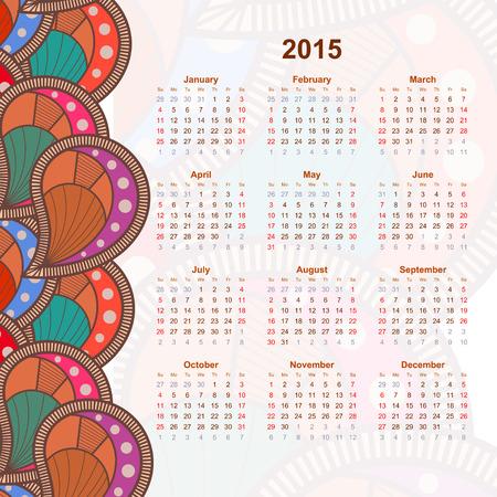 ethno: Calendar with flower design doodle. 2015. Ethno. Vector illustration.