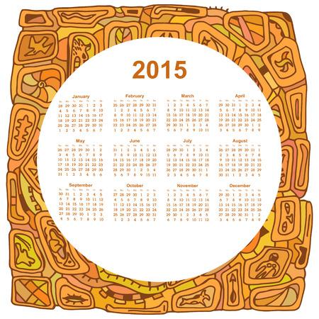 ethno: Round calendar designed in the style of Tribal. 2015. Ethno. Vector illustration.