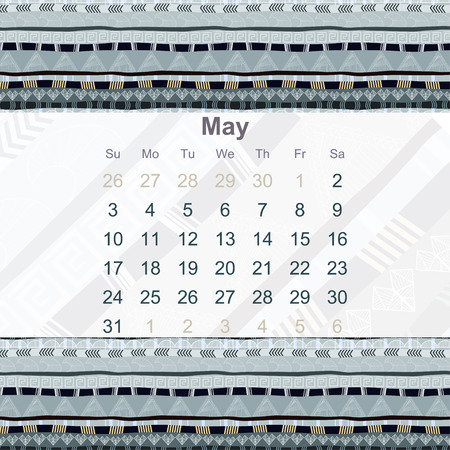 ethno: Calendar designed in the style of Tribal. 2015. May. Ethno. Vector illustration.