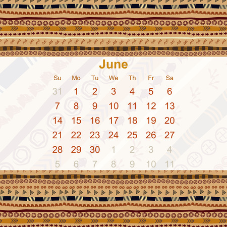 median: Calendar designed in the style of Tribal. 2015. June. Ethno. Vector illustration.