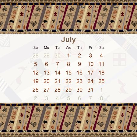 ethno: Calendar designed in the style of Tribal. 2015. July. Ethno. Vector illustration. Illustration