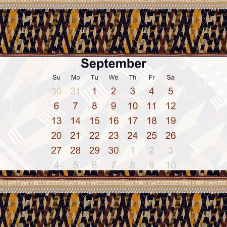 ethno: Calendar designed in the style of Tribal. 2015. September. Ethno. Vector illustration. Illustration