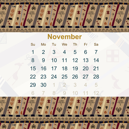 ethno: Calendar designed in the style of Tribal. 2015. November. Ethno. Vector illustration.