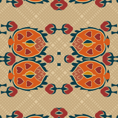 ethno: Seamless background from a floral ornament orange tribal style on a light background. Ethno. Vector illustration. Illustration