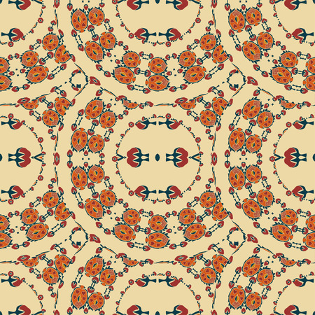 ethno: Seamless background from a floral ornament round tribal style on a light background. Ethno. Vector illustration.