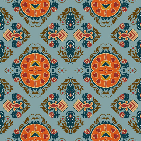 ethno: Seamless background from a floral ornament orange tribal style on a blue background. Ethno. Vector illustration. Illustration