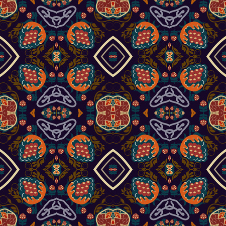 ethno: Seamless background from a floral ornament orange tribal style on purple background. Ethno. Vector illustration.