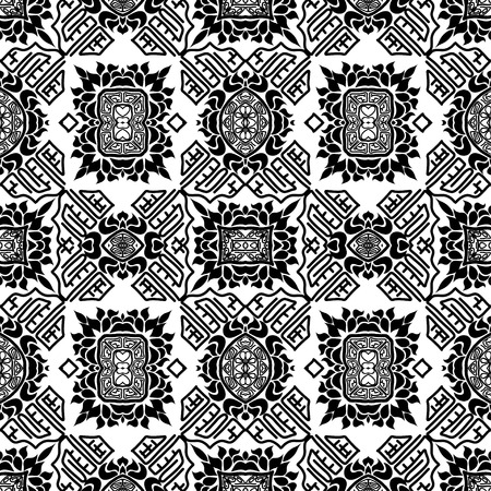 ethno: Seamless background from a floral ornament black and white tribal style. Ethno. Vector illustration.