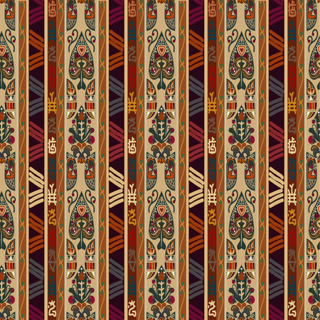 ethno: Colorful seamless with floral ornament. Tribal style. Ethno.  Illustration