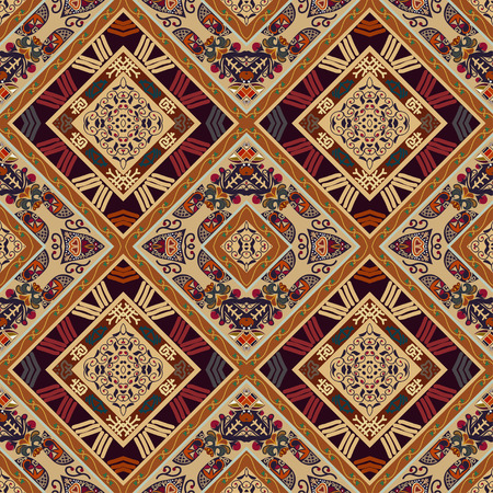 ethno: Colorful seamless with floral ornament and diamonds. Tribal style. Ethno.  Illustration