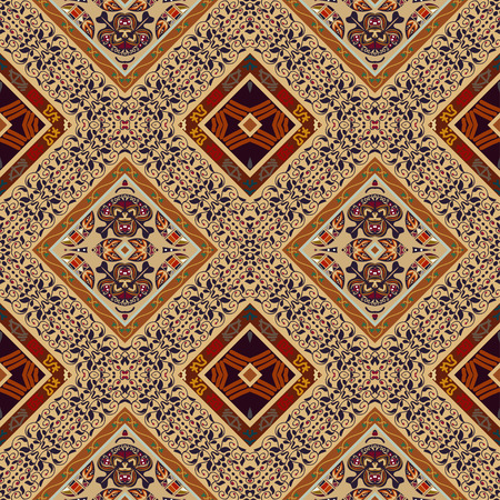 ethno: Colorful seamless with floral patterns and beige rhombuses. Tribal style. Ethno.
