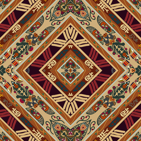 ethno: Red seamless with floral ornament. Tribal style. Ethno. Illustration