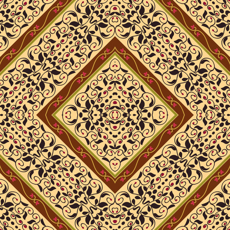 ethno: Bright seamless with floral ornament with rhombuses. Tribal style. Ethno.