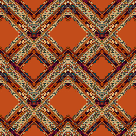 ethno: Red seamless with floral ornament with orange rhombuses. Tribal style. Ethno.