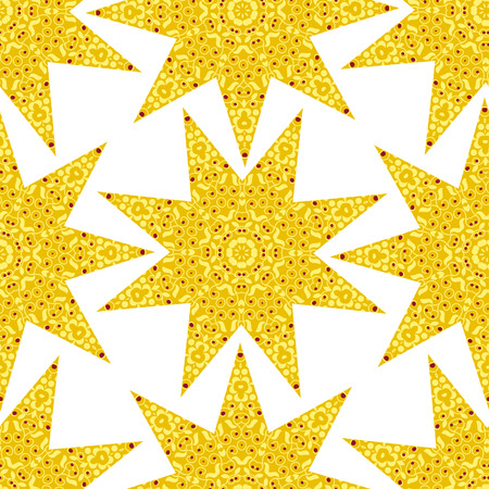 ethno: Yellow seamless with floral ornament and stars. Tribal style. Ethno.