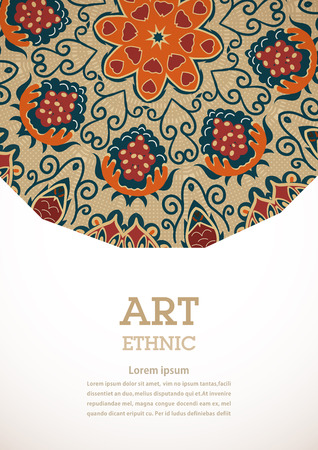 ethno: Banner with floral ornament in the style of Tribal. Ethno. Vector illustration. Illustration