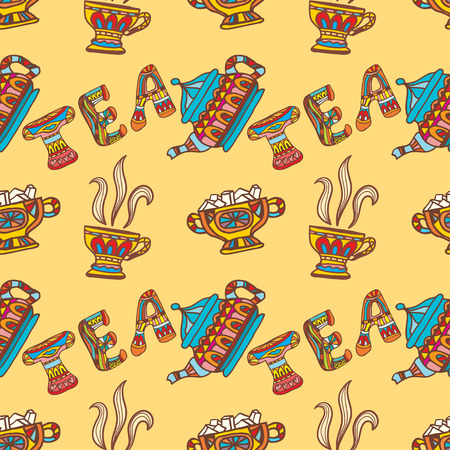 Seamless texture tea party, chanik, cup, candy, sugar. Tribal style. Vector illustration. Vector