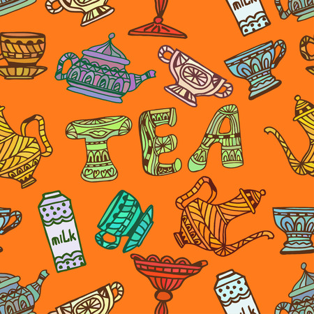 Orange seamless texture tea party, chanik, cup, candy, sugar. Tribal style. Vector illustration. Vector