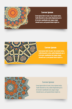 Set of banners decorated ethnic ornament. Tribal style. Vector illustration. Vector