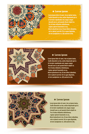Set of banners decorated ethnic ornament on vintage paper. Tribal style. Vector illustration. Vector