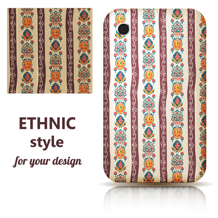 Set of seamless texture and phone cover decorated in orange floral ornament. Tribal style. Vector illustration. Vector