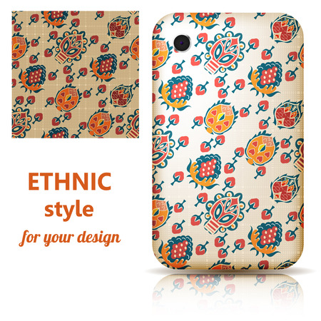Set of seamless texture and phone cover decorated in orange floral ornament on a light background. Tribal style. Vector illustration. Vector