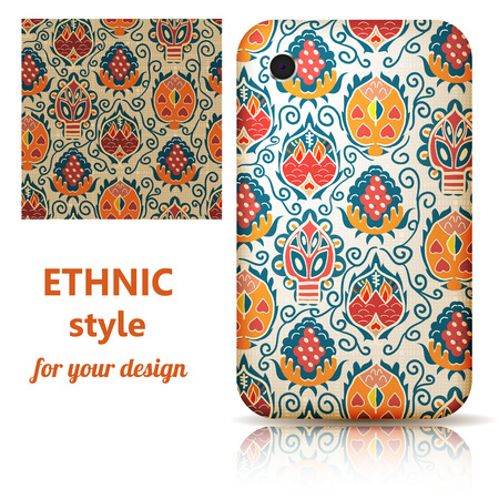 Set of seamless texture and phone cover decorated in orange and blue floral ornament on a light background. Tribal style. Vector illustration. Vector