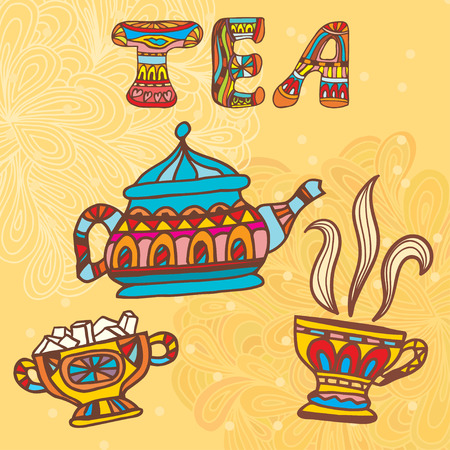 creamer: Tea doodles sketchy. Vector illustration.