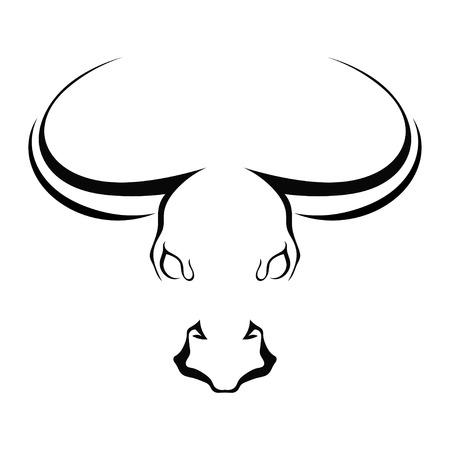 toros bravos: Cara completa silueta simple cabeza de un toro aislado en un fondo blanco. Granja Marcas. Ilustraci�n del vector.