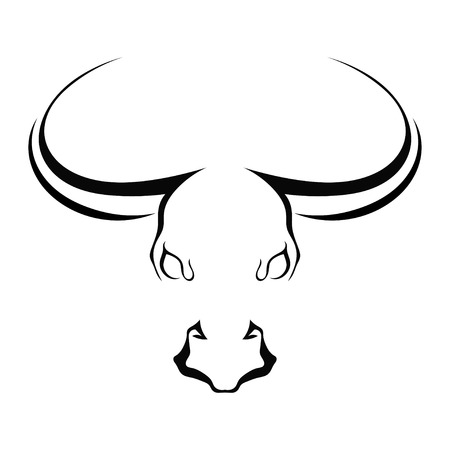 Simple silhouette full face head of a bull isolated on a white background. Trademark farm. Vector illustration.