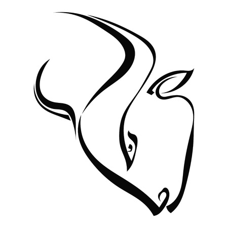 Simple silhouette profile head of a bull isolated on a white background. Trademark farm. Vector illustration. Vector