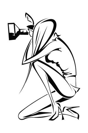 při pohledu na fotoaparát: Silueta ženské fotograf, který se dívá do kamery. Vektorové ilustrace.