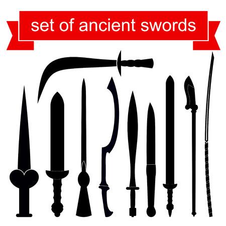 Set of silhouettes of knives. Vector illustration Ilustração