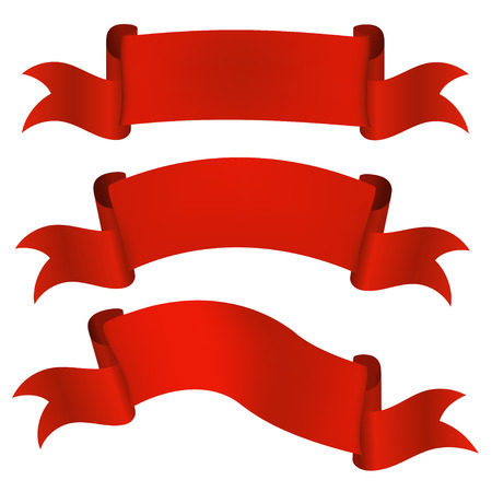 satin: Set satin red ribbons isolated on white background. Vector illustration.