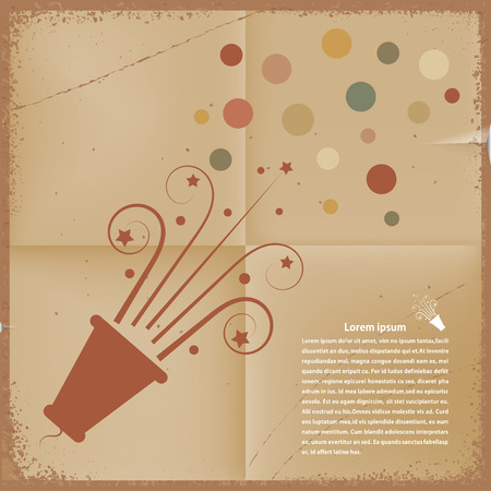 Retro background. Poppers with confetti on outdated paper. Vector illustration. Vector