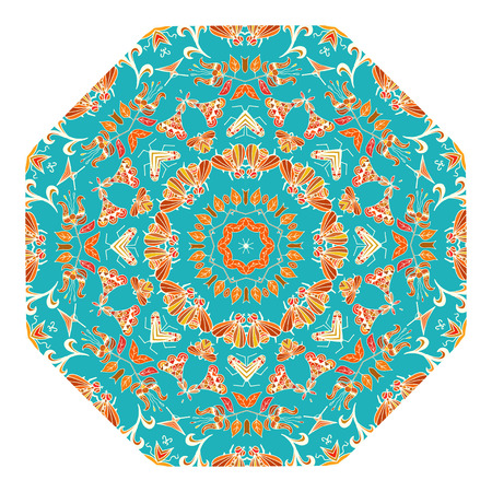 Blue design element in the form of a kaleidoscope ornament Tribal style. Vector illustration. Vector