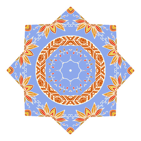 Blue design element in the form of a mandala ornament Tribal style. Vector illustration. Vector