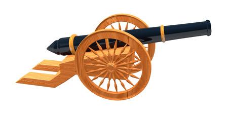 wheel guard: Vector 3d models retro black gun and wooden wheels