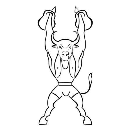 Silhouette of a bull athlete with weights isolated on white background. Bodybuilder. Vector illustration. Vector
