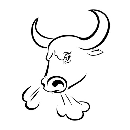Angry bull's head with the steam from his nostrils isolated on white background. Vector illustration. Çizim