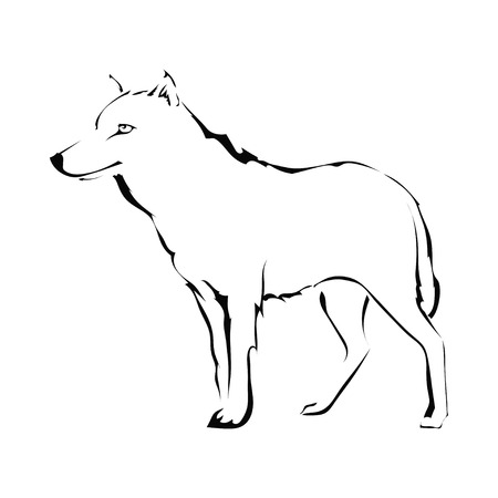 Wolf silhouette isolated on white background. Logo. Vector illustration. Vector